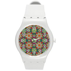 Jewel Tiles Kaleidoscope Round Plastic Sport Watch (m) by WolfepawFractals