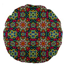 Jewel Tiles Kaleidoscope Large 18  Premium Round Cushions by WolfepawFractals