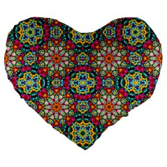 Jewel Tiles Kaleidoscope Large 19  Premium Heart Shape Cushions by WolfepawFractals