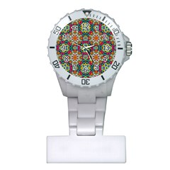 Jewel Tiles Kaleidoscope Plastic Nurses Watch by WolfepawFractals