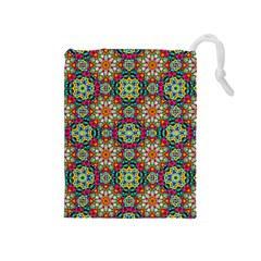 Jewel Tiles Kaleidoscope Drawstring Pouches (medium)  by WolfepawFractals