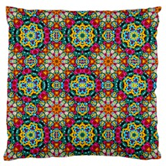Jewel Tiles Kaleidoscope Large Flano Cushion Case (one Side) by WolfepawFractals