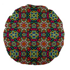 Jewel Tiles Kaleidoscope Large 18  Premium Flano Round Cushions by WolfepawFractals