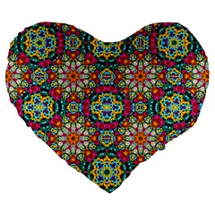 Jewel Tiles Kaleidoscope Large 19  Premium Flano Heart Shape Cushions by WolfepawFractals