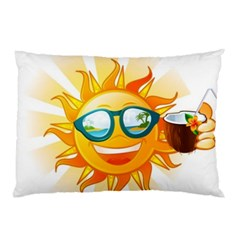 Cartoon Sun Pillow Case (two Sides) by LimeGreenFlamingo