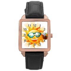 Cartoon Sun Rose Gold Leather Watch  by LimeGreenFlamingo