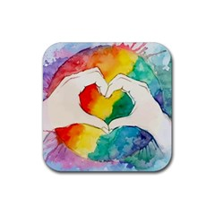 Pride Love Rubber Square Coaster (4 Pack)  by LimeGreenFlamingo