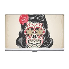 Woman Sugar Skull Business Card Holders by LimeGreenFlamingo