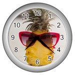 Pineapple With Sunglasses Wall Clocks (Silver)  Front