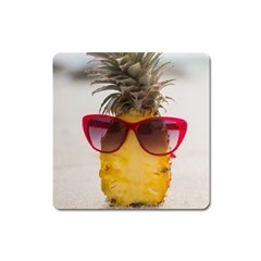 Pineapple With Sunglasses Square Magnet by LimeGreenFlamingo