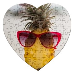 Pineapple With Sunglasses Jigsaw Puzzle (heart) by LimeGreenFlamingo