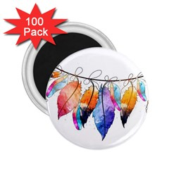 Watercolor Feathers 2 25  Magnets (100 Pack)