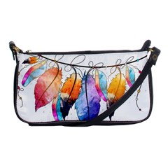 Watercolor Feathers Shoulder Clutch Bags by LimeGreenFlamingo