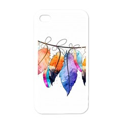 Watercolor Feathers Apple Iphone 4 Case (white) by LimeGreenFlamingo