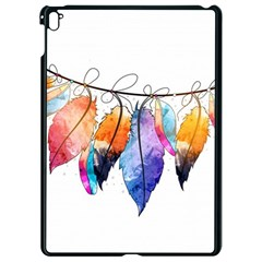 Watercolor Feathers Apple Ipad Pro 9 7   Black Seamless Case