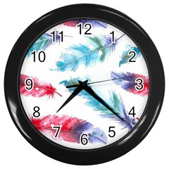 Watercolor Feather Background Wall Clocks (black) by LimeGreenFlamingo