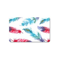 Watercolor Feather Background Magnet (name Card) by LimeGreenFlamingo