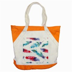 Watercolor Feather Background Accent Tote Bag by LimeGreenFlamingo