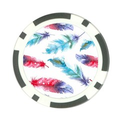 Watercolor Feather Background Poker Chip Card Guard by LimeGreenFlamingo