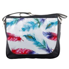 Watercolor Feather Background Messenger Bags by LimeGreenFlamingo