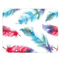 Watercolor Feather Background Double Sided Flano Blanket (large)  by LimeGreenFlamingo