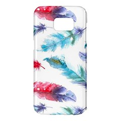 Watercolor Feather Background Samsung Galaxy S7 Edge Hardshell Case by LimeGreenFlamingo