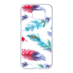 Watercolor Feather Background Samsung Galaxy S7 Edge White Seamless Case by LimeGreenFlamingo