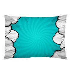 Blue Comic Vintage Pillow Case by LimeGreenFlamingo