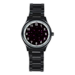 Awesome Allover Stars 02d Stainless Steel Round Watch by MoreColorsinLife