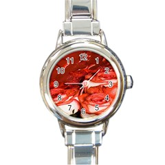 Nice Rose With Water Round Italian Charm Watch