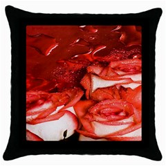 Nice Rose With Water Throw Pillow Case (black) by BangZart