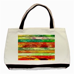 Stripes Color Oil Basic Tote Bag by BangZart