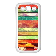 Stripes Color Oil Samsung Galaxy S3 Back Case (white) by BangZart