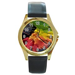 Green Yellow Red Maple Leaf Round Gold Metal Watch by BangZart