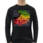 Green Yellow Red Maple Leaf Long Sleeve Dark T-Shirts Front