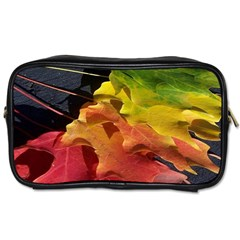Green Yellow Red Maple Leaf Toiletries Bags