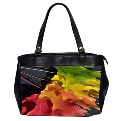 Green Yellow Red Maple Leaf Office Handbags (2 Sides)  by BangZart