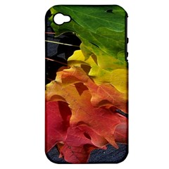 Green Yellow Red Maple Leaf Apple Iphone 4/4s Hardshell Case (pc+silicone) by BangZart