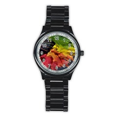 Green Yellow Red Maple Leaf Stainless Steel Round Watch by BangZart