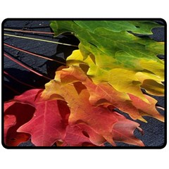 Green Yellow Red Maple Leaf Double Sided Fleece Blanket (medium)  by BangZart
