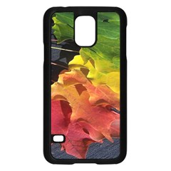 Green Yellow Red Maple Leaf Samsung Galaxy S5 Case (black) by BangZart