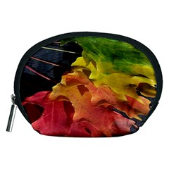 Green Yellow Red Maple Leaf Accessory Pouches (medium)  by BangZart