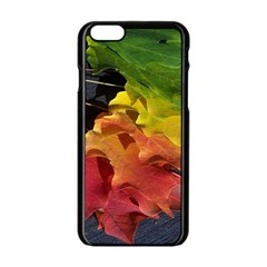Green Yellow Red Maple Leaf Apple Iphone 6/6s Black Enamel Case