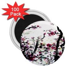 Pink Flower Ink Painting Art 2 25  Magnets (100 Pack)  by BangZart
