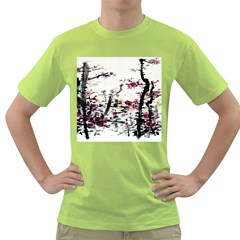 Pink Flower Ink Painting Art Green T Shirt by BangZart