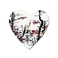 Pink Flower Ink Painting Art Heart Magnet by BangZart