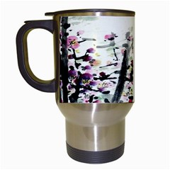 Pink Flower Ink Painting Art Travel Mugs (white) by BangZart