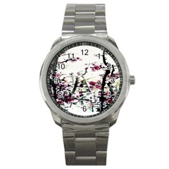 Pink Flower Ink Painting Art Sport Metal Watch by BangZart