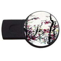 Pink Flower Ink Painting Art Usb Flash Drive Round (4 Gb) by BangZart