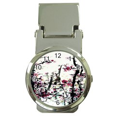 Pink Flower Ink Painting Art Money Clip Watches by BangZart